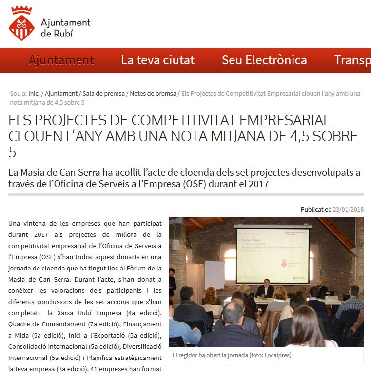 Tancament de projectes de consolidació Ajuntament Rubí